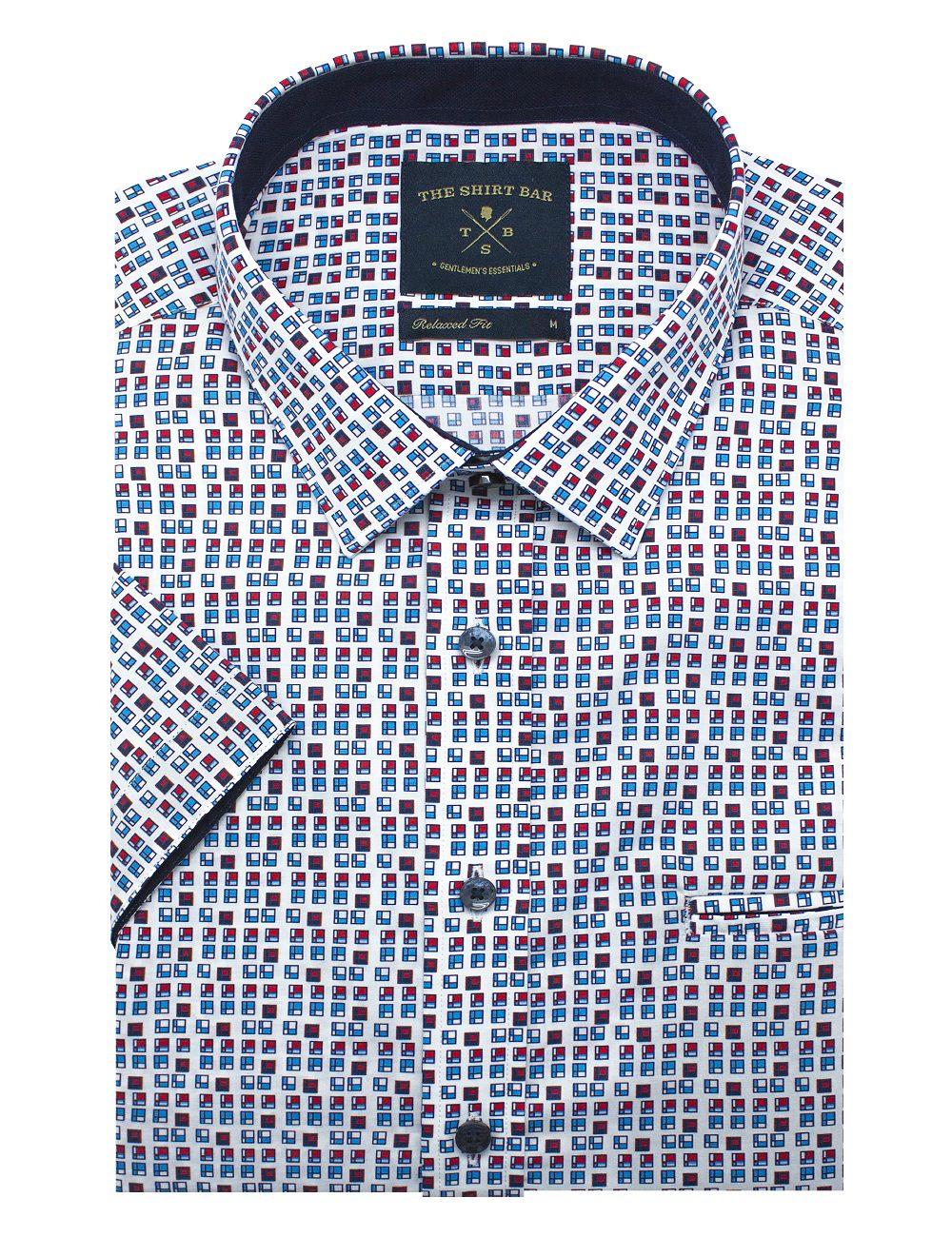 White HDB Inspired Print Silky Finish Short Sleeve Shirt - RF9SNB4.18