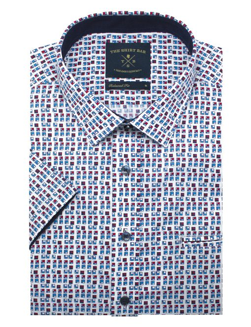 White HDB Inspired Print Silky Finish Short Sleeve Shirt - RF9SNB4.18
