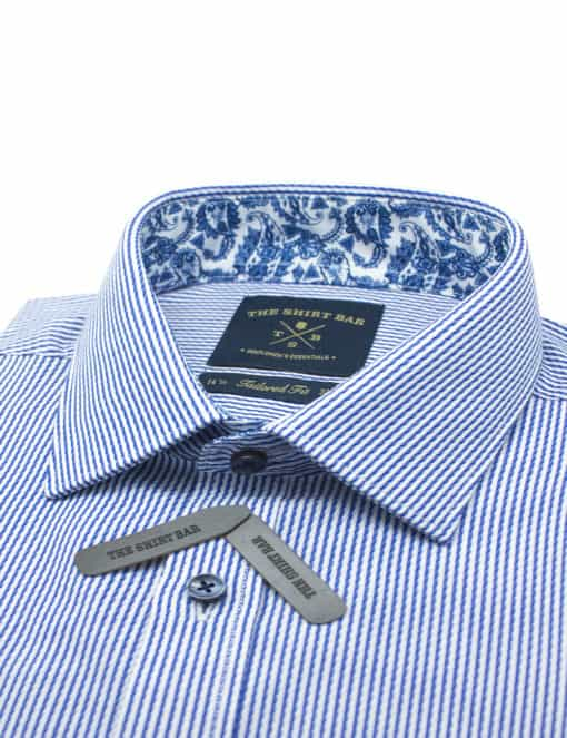 Tailored Fit White and Blue Stripes Spill Resist Shirt TF2F2.18