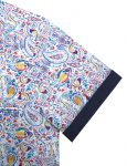 White with Blue Paisley Print Silky Finish Relaxed Fit Short Sleeve Shirt - RF9SNB1.18