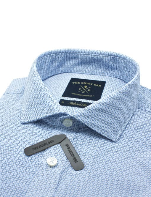 Tailored Fit White with Blue Print Eco-ol Bamboo Shirt TF1A5.18