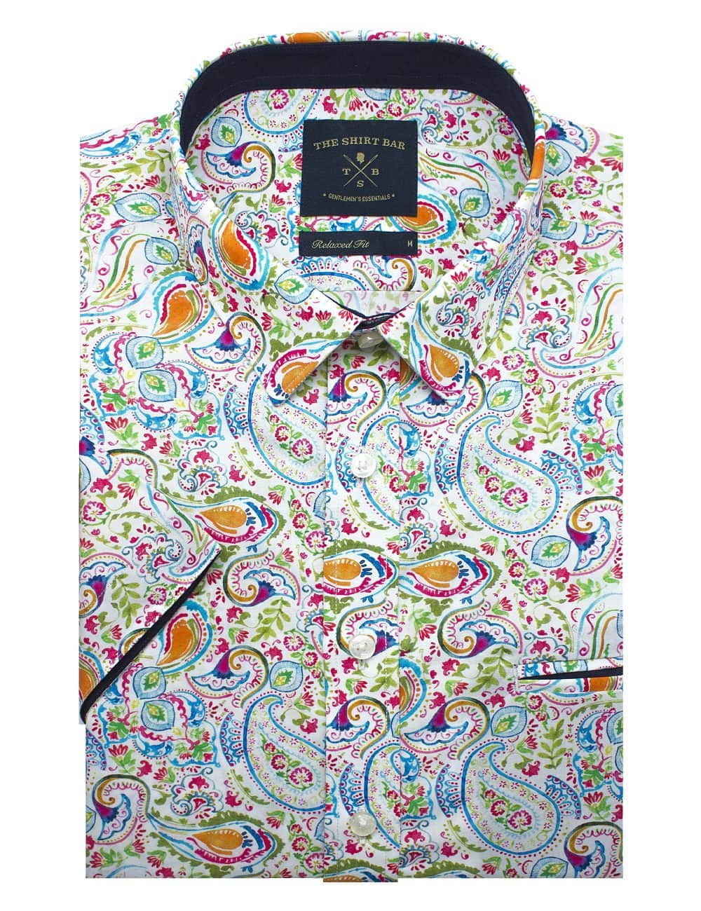 White with Green Paisley Print Silky Finish Relaxed Fit Short Sleeve Shirt - RF9SNB2.18