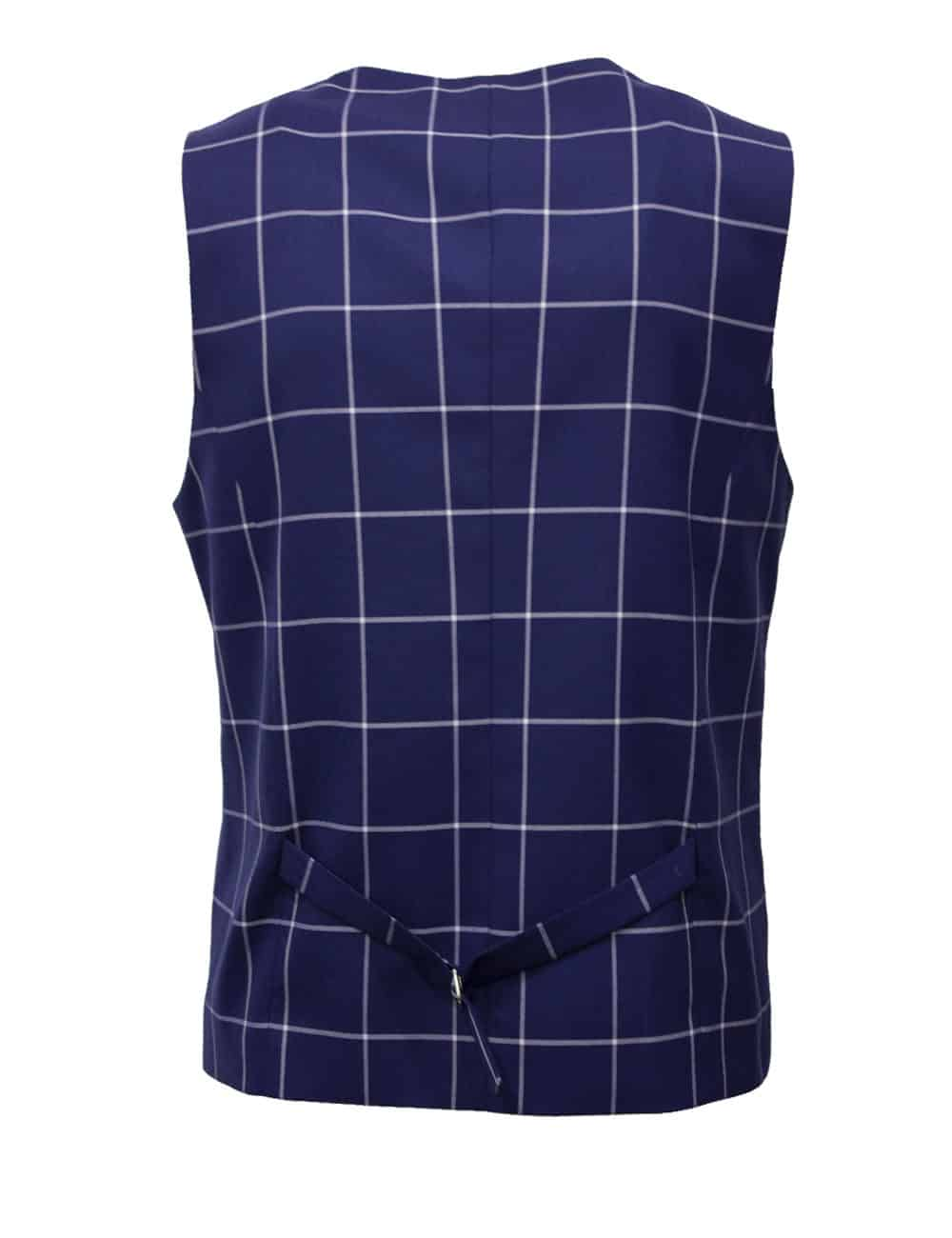 Tailored Fit Blue Checks Single Breasted Vest V1V2.3