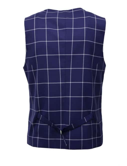 Tailored Fit Blue Checks Single Breasted Vest V1V2.3