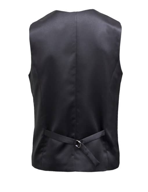 Tailored Fit Black Twill Single Breasted Vest V1V2.4