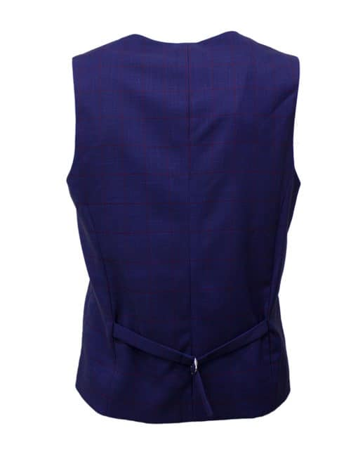 Tailored Fit Navy Checks Single Breasted Vest V1V5.2