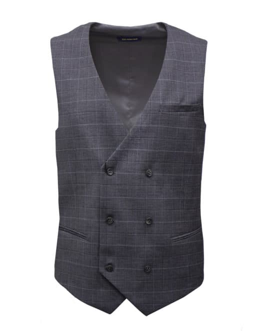 Tailored Fit Grey Checks Double Breasted Vest V2V2.3