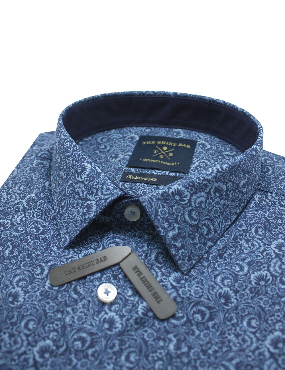 Blue Floral Print SG Inspired Custom / Relaxed Fit Short Sleeve Shirt – RF9SNB5.21