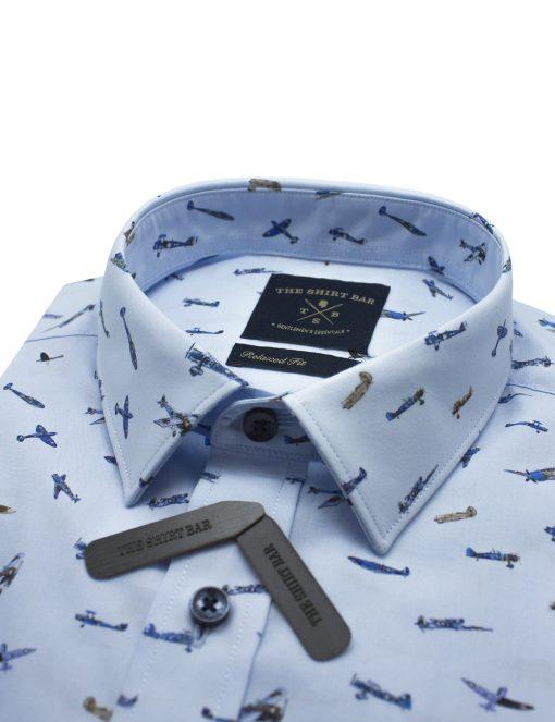 Blue Plane Print SG Inspired Italian Fabric Custom / Relaxed Fit Short Sleeve Shirt - RF9SNB10.21