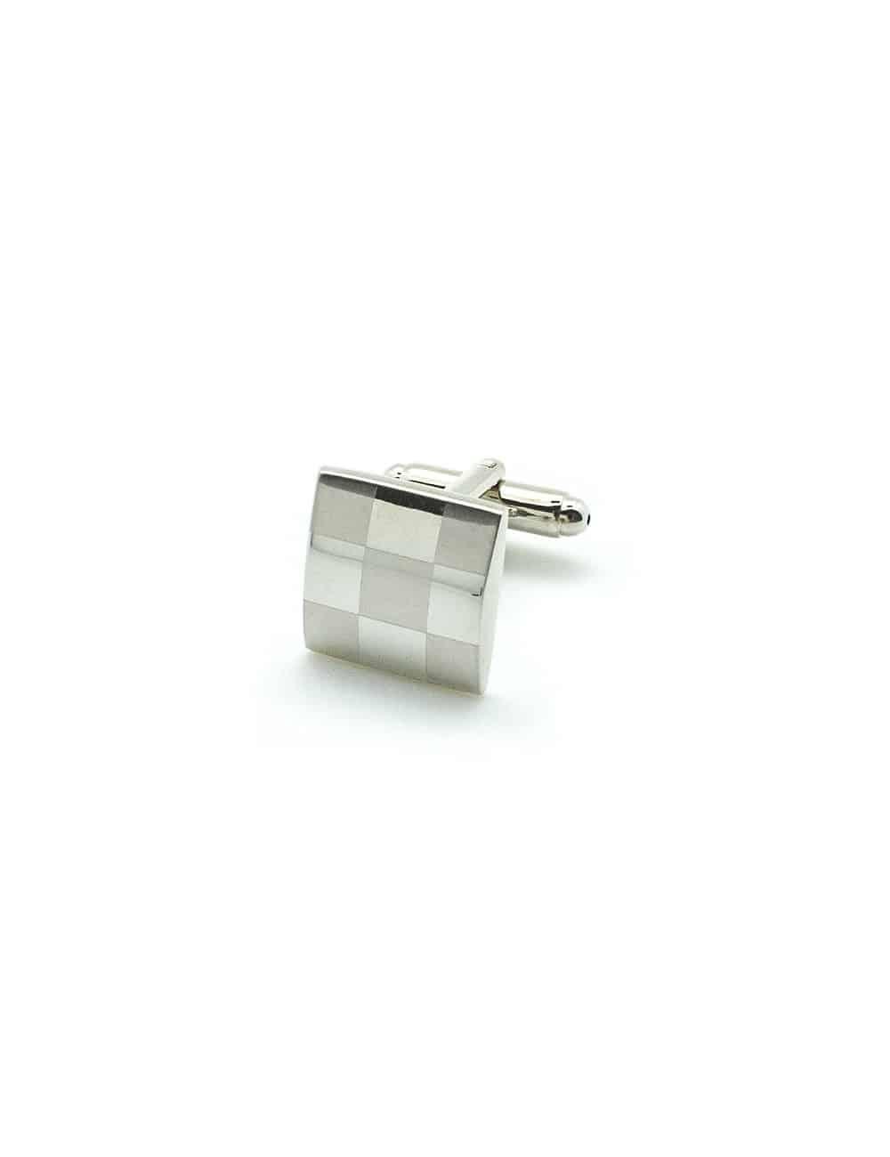 Classic Silver Square Check Cufflink C101FC-053