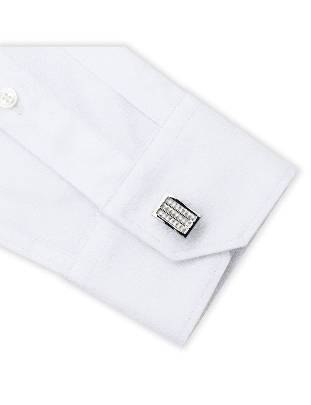 Classic Silver Rectangle Tiles with Micro Checks Cufflink C101FC-070