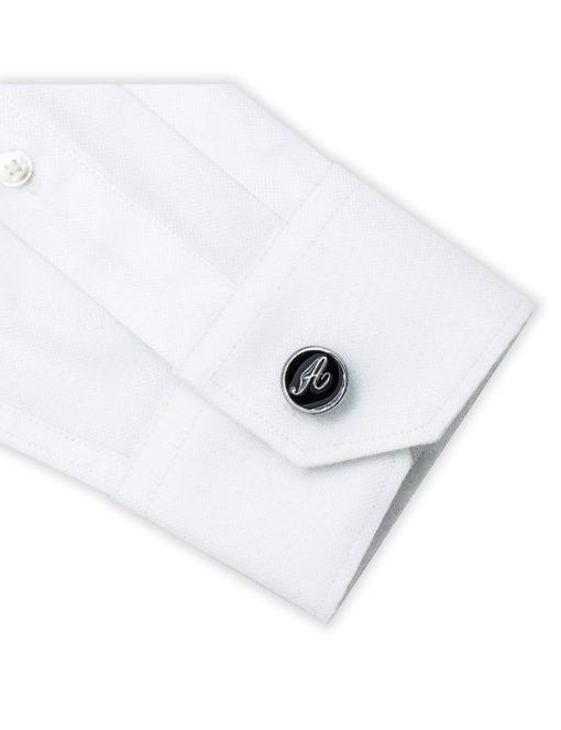 Black Enamel Letter A Cufflink C221NL-020A