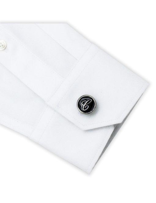 Black Enamel Letter C Cufflink C221NL-020C