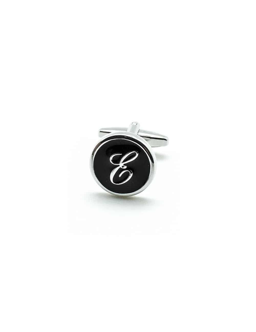 Black Enamel Letter E Cufflink C221NL-020E