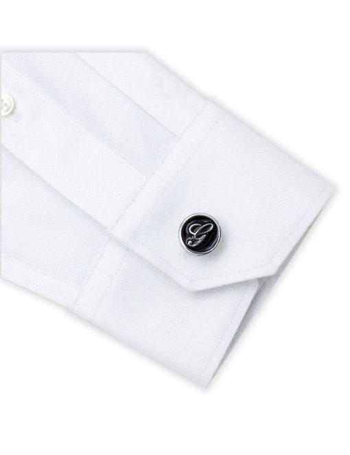 Black Enamel Letter G Cufflink C221NL-020G