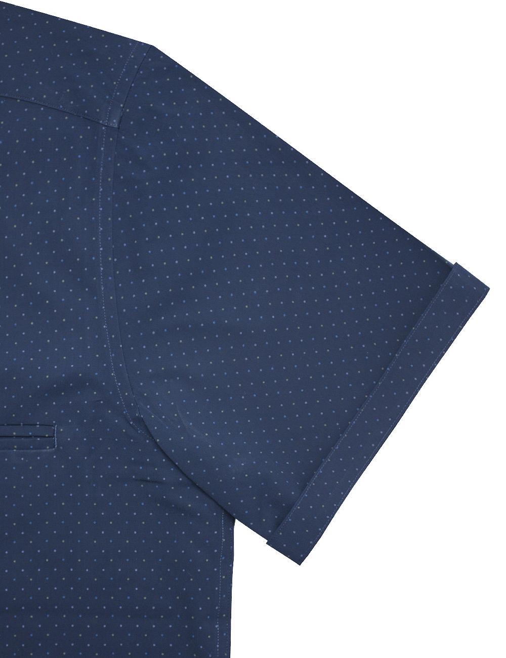 Navy Polka Dots Print Eco-ol Bamboo Custom / Relaxed Fit Short Sleeve Shirt - RF9SNB3.21