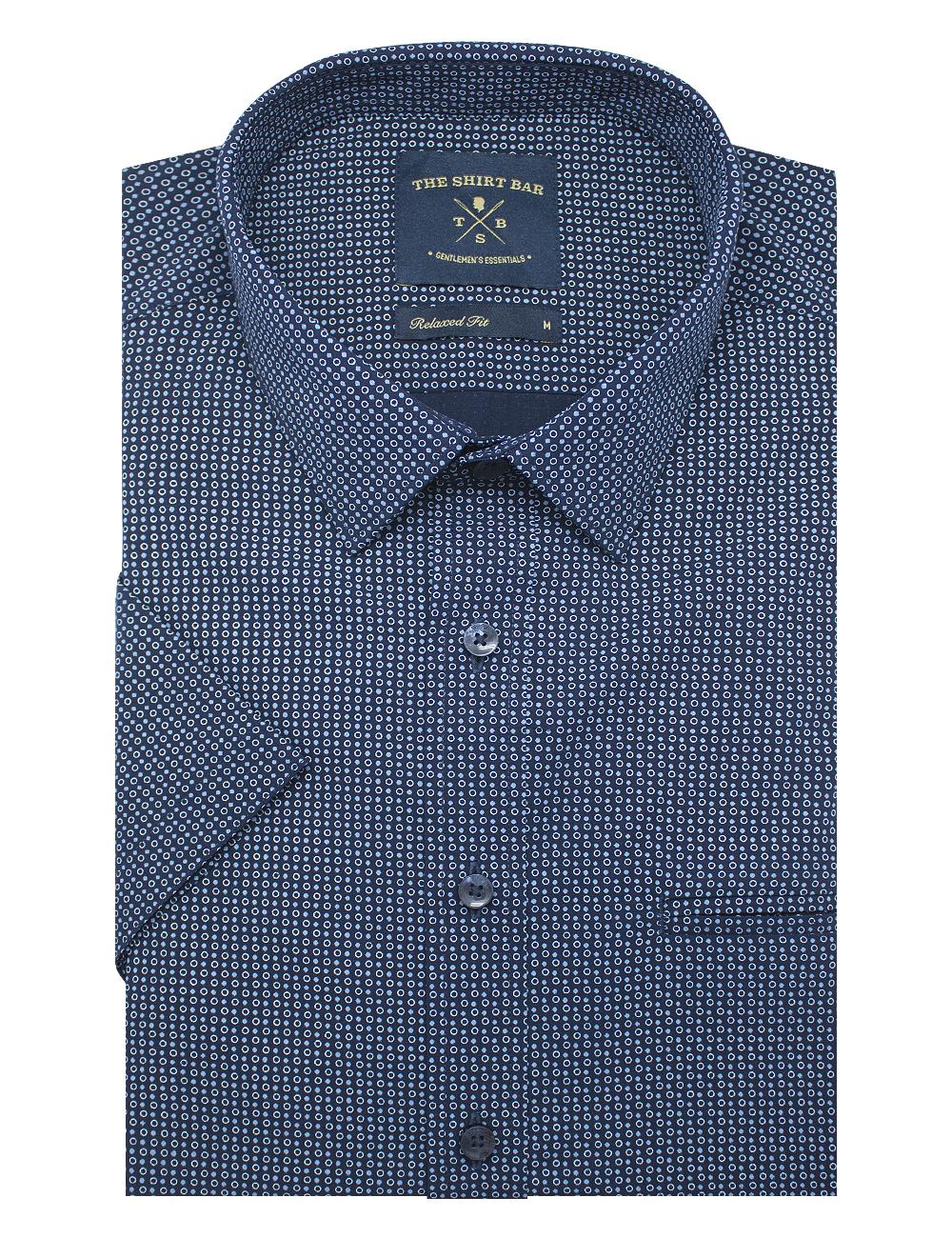 Navy Circle Print Eco-ol Bamboo Custom / Relaxed Fit Short Sleeve Shirt – RF9SNB13.21