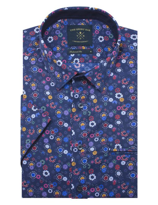 Colourful Floral Print SG Inspired Custom / Relaxed Fit Short Sleeve Shirt - RF9SNB6.21