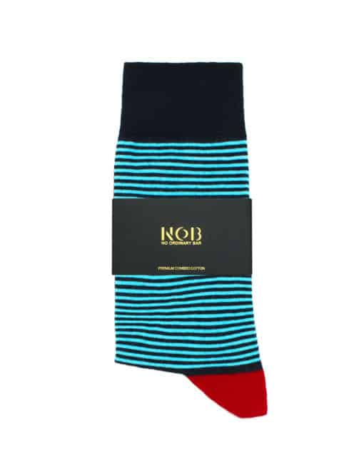 Navy and Turquoise Stripes Crew Socks made with Premium Combed Cotton SOC1B.NOB1
