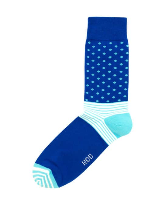 Blue with Sky Blue Polka Dots Crew Socks made with Premium Combed Cotton SOC2A.NOB1