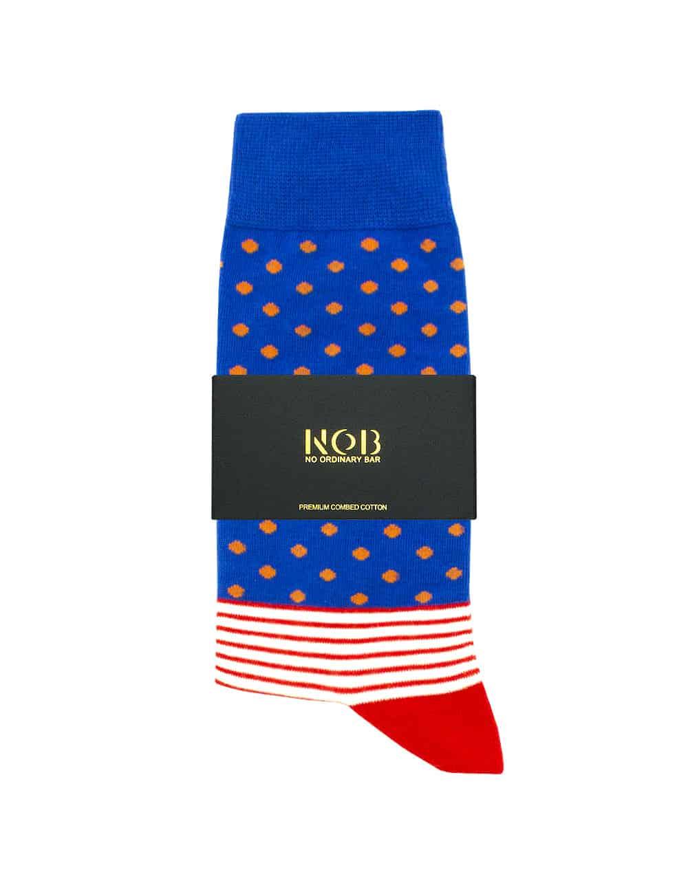 Blue with Orange Polka Dots Crew Socks made with Premium Combed Cotton SOC2B.NOB1