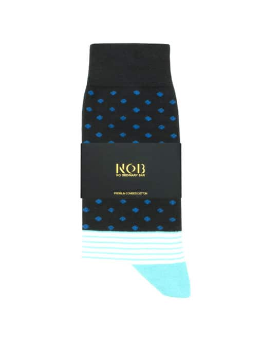 Navy with Blue Polka Dots Crew Socks made with Premium Combed Cotton SOC2C.NOB1