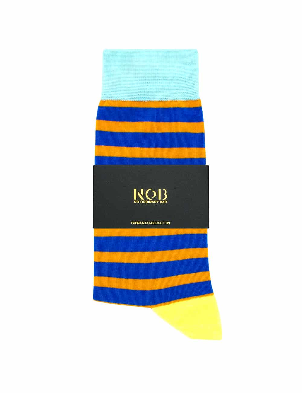 Orange and Blue Stripes Crew Socks made with Premium Combed Cotton SOC3A.NOB1