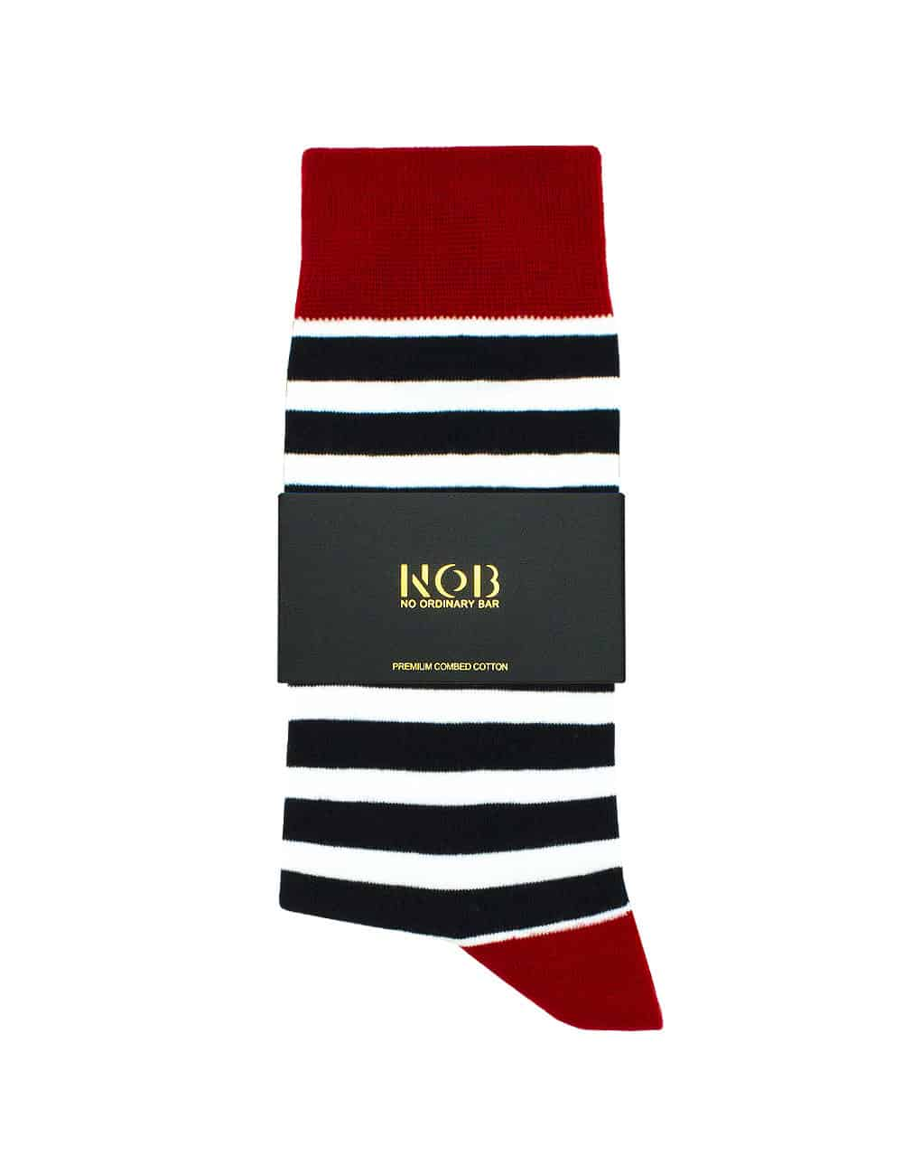 Navy and White Stripes Crew Socks made with Premium Combed Cotton SOC3B.NOB1