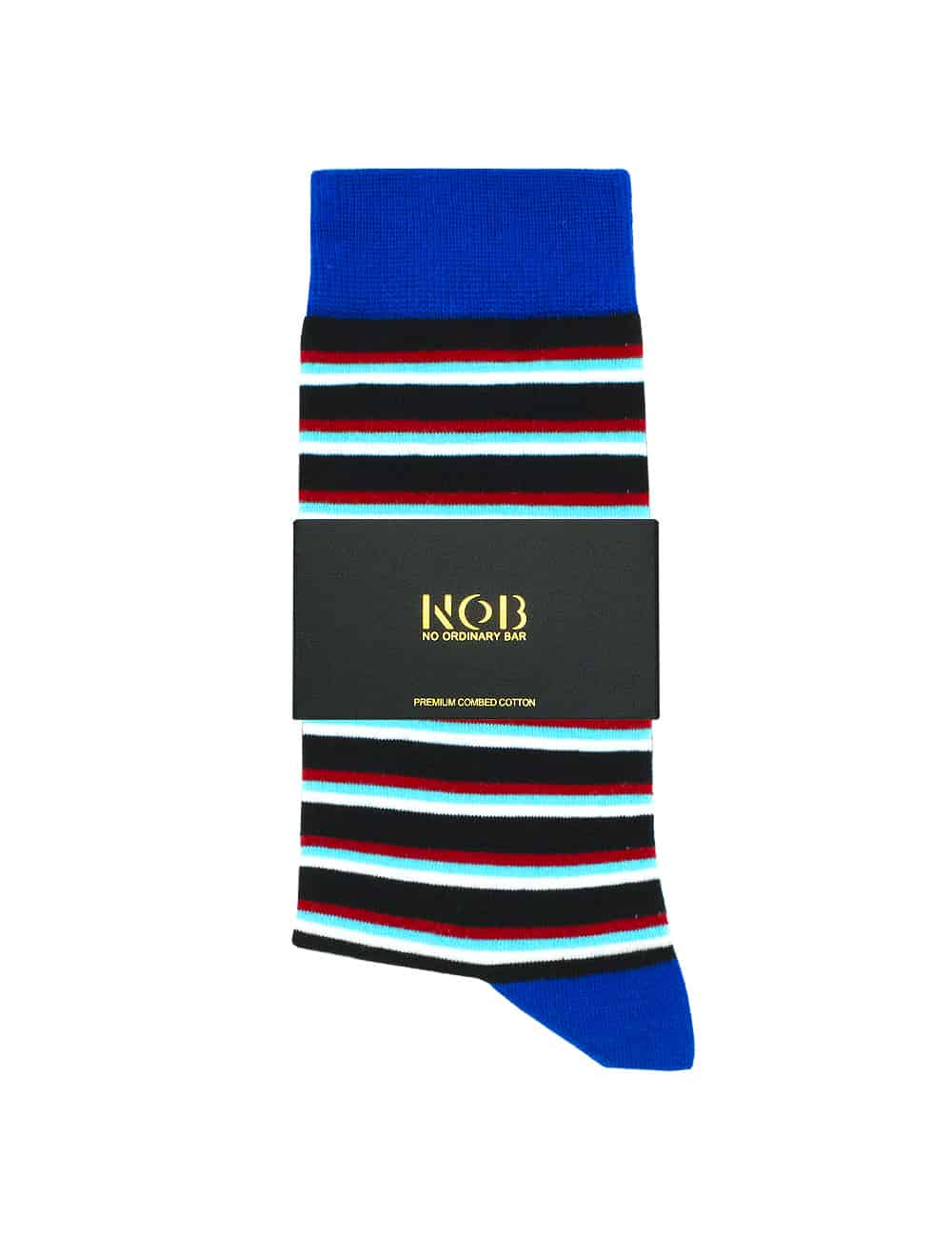 Navy with Red, Turquoise and White Stripes Crew Socks made with Premium Combed Cotton SOC4A.NOB1