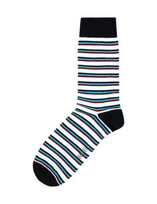 White with Navy, Turquoise and Red Stripes Crew Socks made with Premium Combed Cotton SOC4B.NOB1