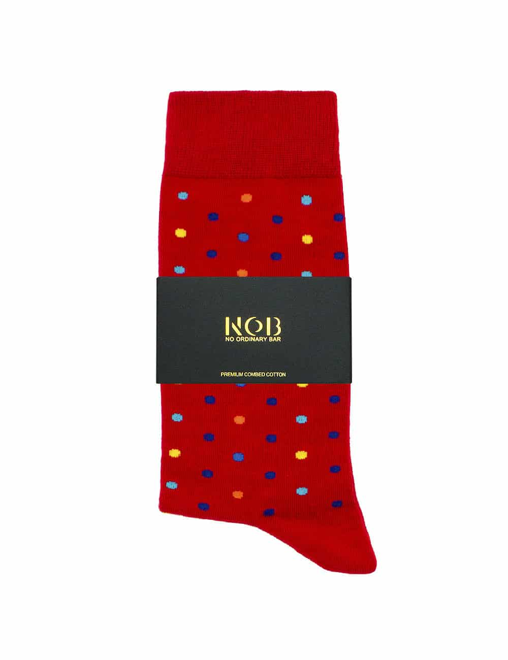 Red with Colourful Polka Dots Crew Socks made with Premium Combed Cotton SOC5A.NOB1