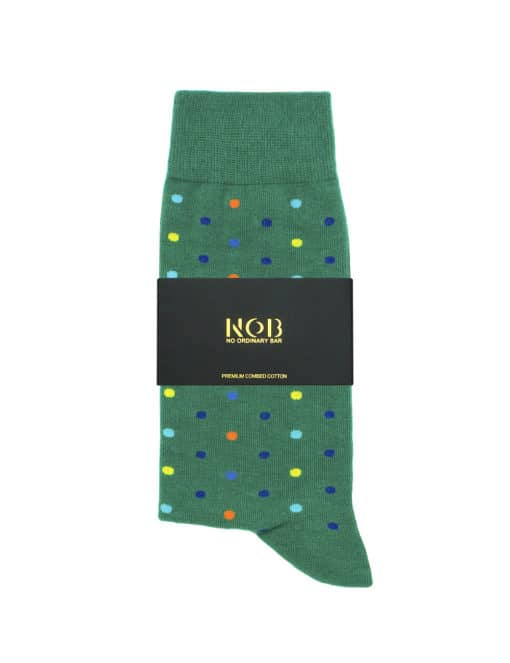 Green with Colourful Polka Dots Crew Socks made with Premium Combed Cotton SOC5B.NOB1