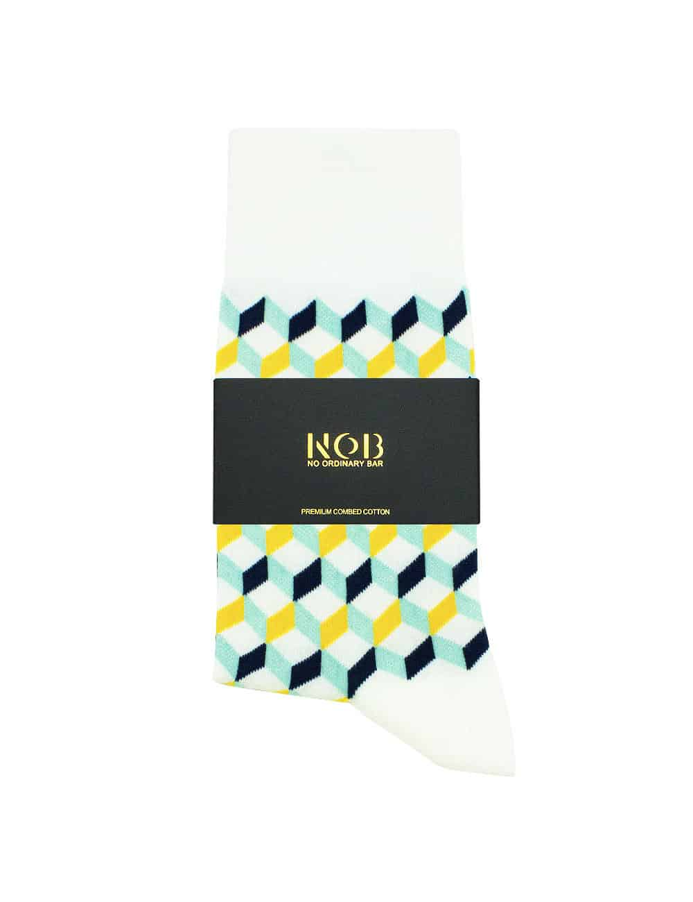 White with Yellow Geometric Design Crew Socks made with Premium Combed Cotton SOC6A.NOB1