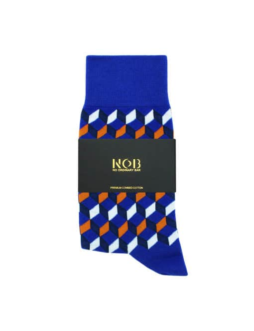 Blue with Orange Geometric Design Crew Socks made with Premium Combed Cotton SOC6B.NOB1