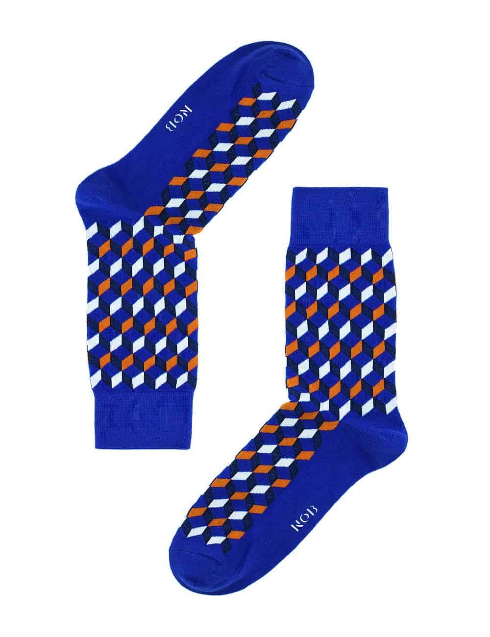 Blue with Orange Geometric Design Crew Socks made with Premium Combed Cotton SOC6B.NOB1