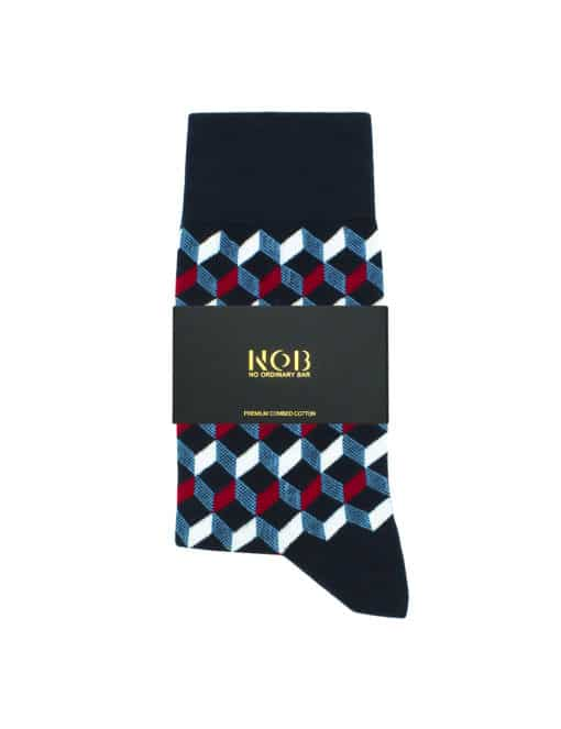 Navy with Burgundy Geometric Design Crew Socks made with Premium Combed Cotton SOC6C.NOB1