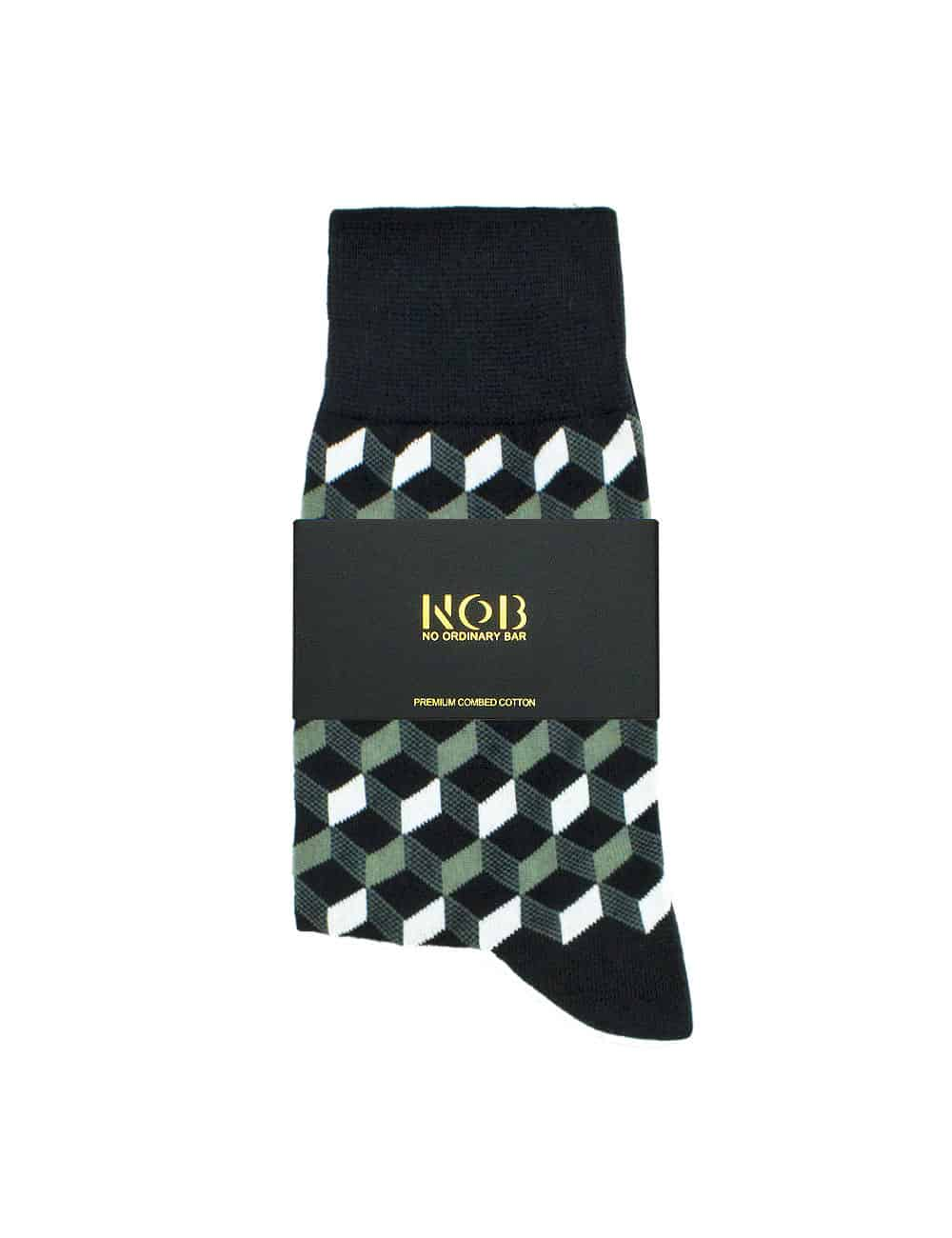 Black with Grey Geometric Design Crew Socks made with Premium Combed Cotton SOC6D.NOB1
