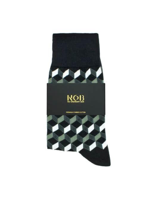 Black with Grey Geometric Design Crew Socks made with Premium Combed Cotton SOC6D.NOB1