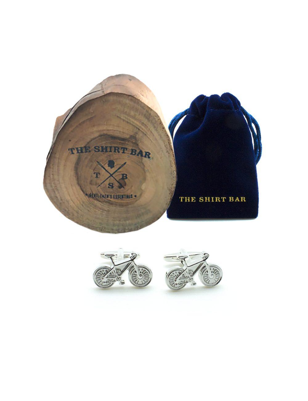 Silver Racing Bicycle Cufflink 0107-004