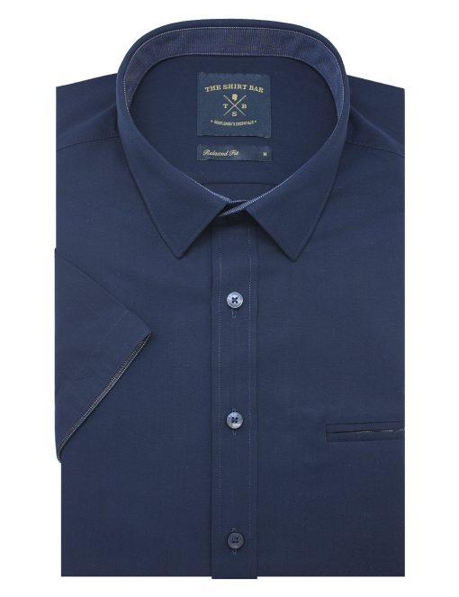 Solid Navy Eco-ol Bamboo Custom / Relaxed Fit Short Sleeve Shirt – RF9SNB2.21
