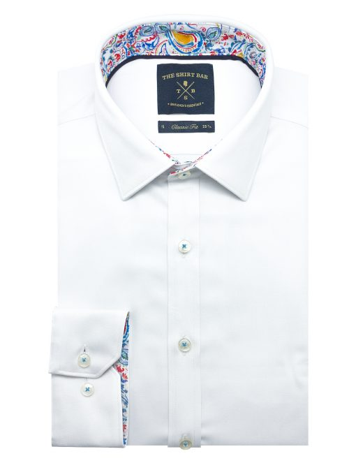Solid White Eco-ol Bamboo Modern / Classic Fit Long Sleeve Shirt – CF2A11.21