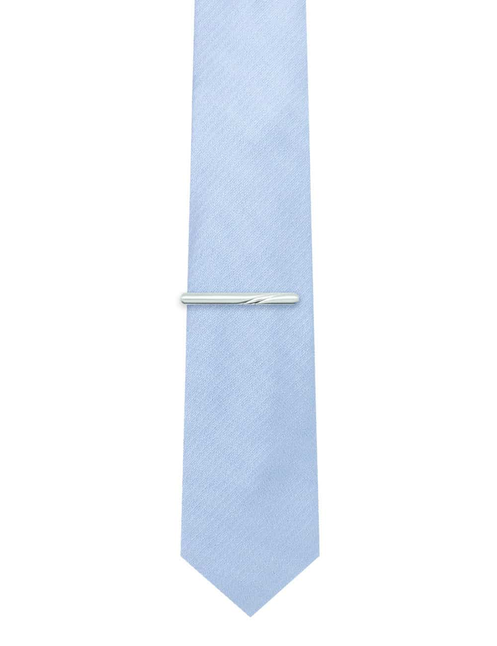 Silver Brushed with Double Slashed Centre Tie Clip T101FC-024