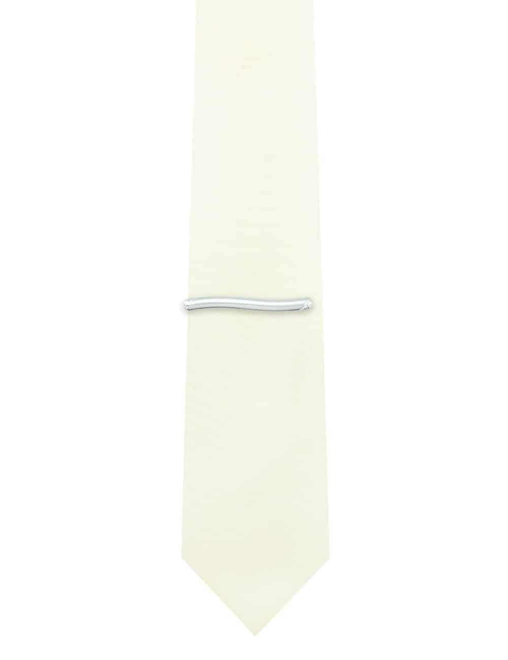 Brushed Silver Wavy Tie Clip T101FC-027