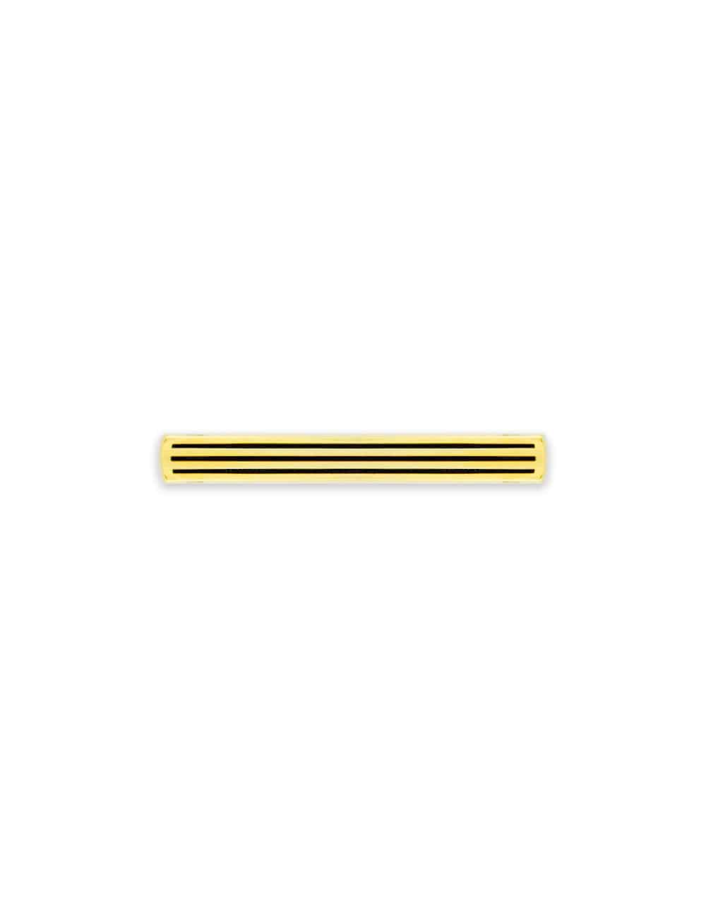 Gold with 3 Stripes Black Enamel Tie Clip T111FE-013