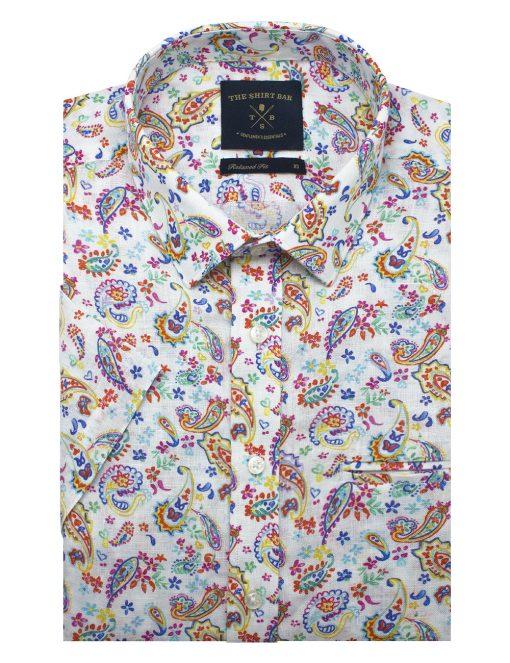 White Paisley Print SG Inspired Italian Fabric Linen Custom / Relaxed Fit Short Sleeve Shirt – RF9SNB14.21