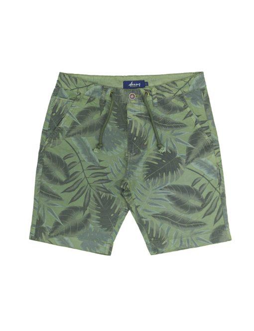 Green Leaf Printed Chino Shorts - SA9.1