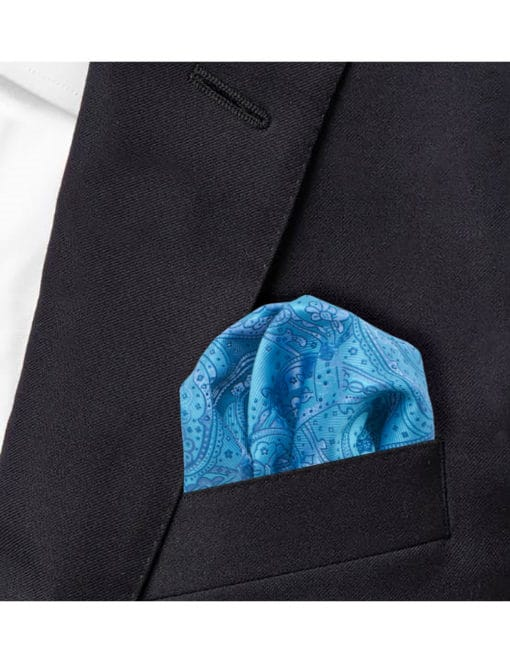 Turquoise Floral Woven Pocket Square PSQ56.9
