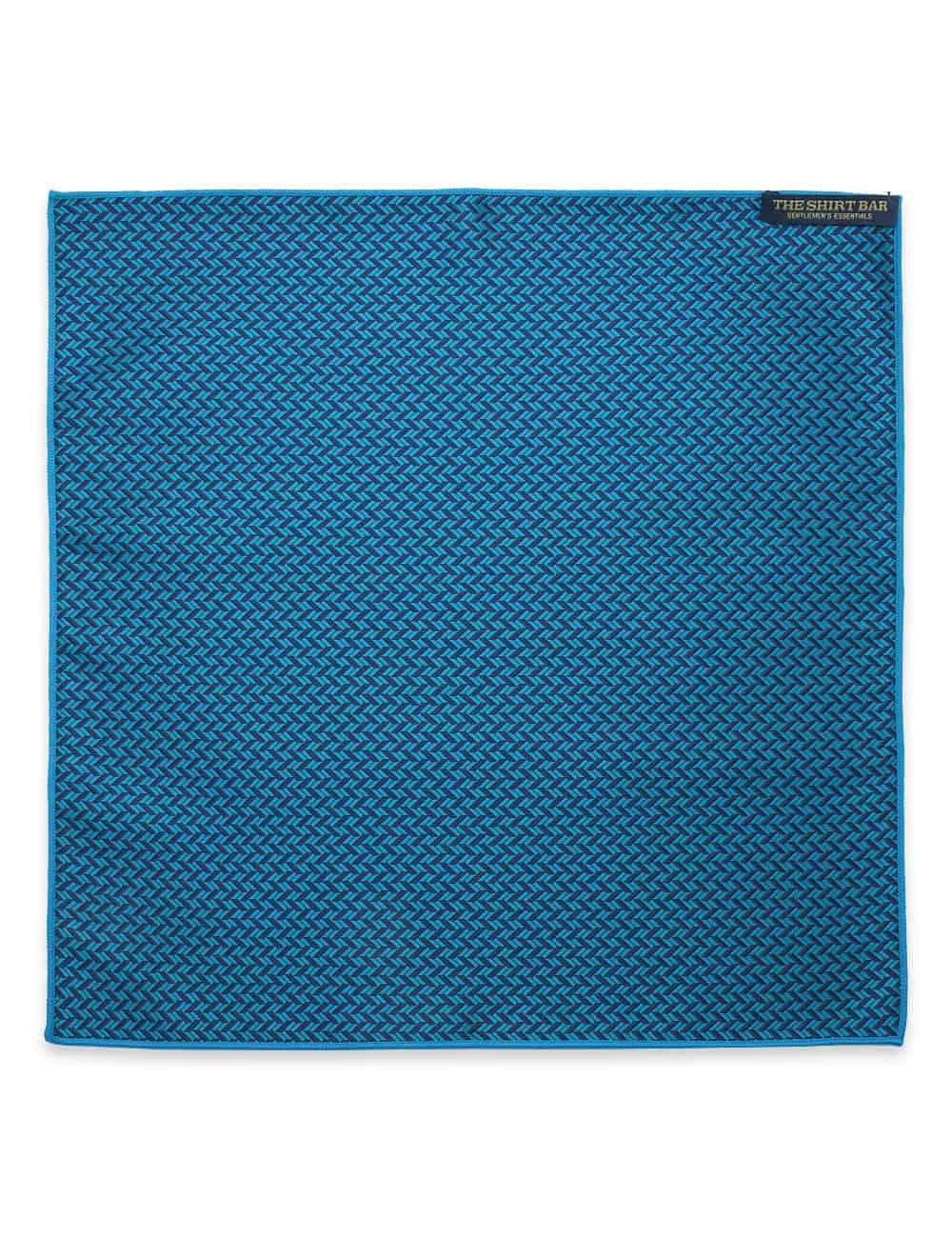 Navy and Blue Herringbone Woven Pocket Square PSQ58.9