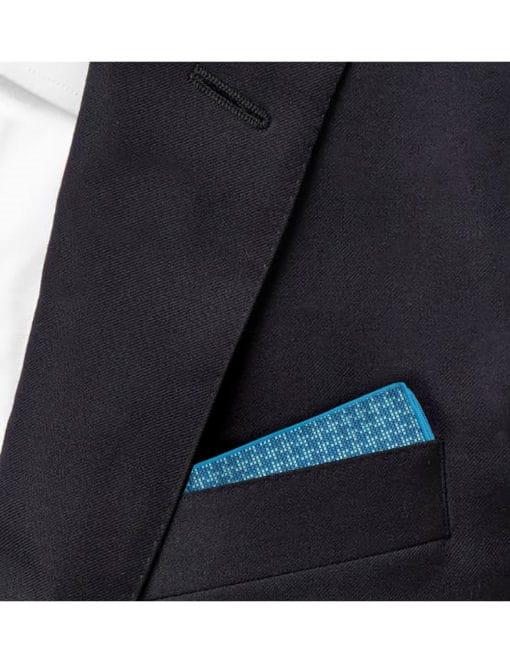 Turquoise Checks Woven Pocket Square PSQ63.9