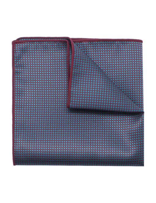 Green and Red Houndstooth Woven Pocket Square PSQ65.9